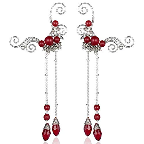 Aifeer Elf Elven Ear Cuffs, Non-Pierced Filigree Wrap Earrings Ear Cuffs for Women Bridal Wedding Handcraft Flowers Jewelry Threader Tassel Chain (Red)