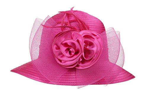 Dantiya Women's Organza Wide Brim Floral Ribbon Kentucky Derby Church Dress Sun Hat (Free, 2 Style-Rose)