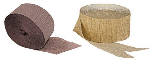 Gold Metallic Crepe Paper Streamers Combinations (Chocolate Brown + Gold Metallic)]()