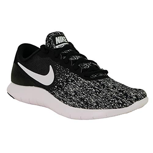 Nike Womens Flex Contact Fabric Low Top Lace Up Running, Black/White, Size 6.5