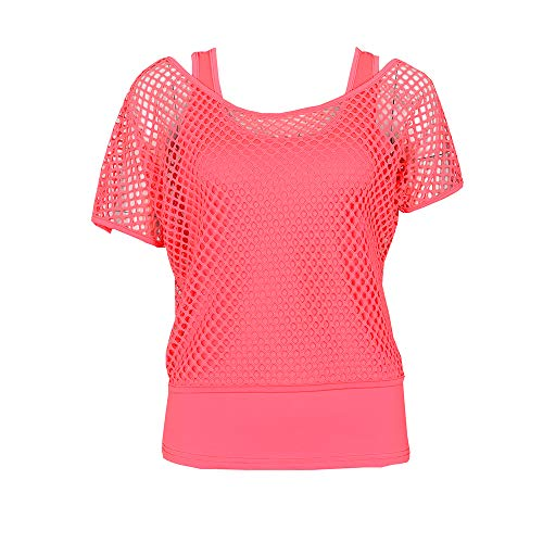 Smile fish Women Casual Sexy 80s Costumes Fishnet Neon Off Shoulder T-Shirt (Pink, US 6-8/Tag Size ()