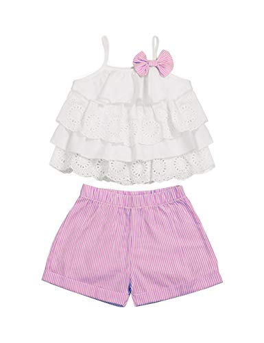 Toddler Baby Girls Clothes Ruffle Cami Top White Lace Tank Top Striped Short Pants Summer Outfit Set for Girls Kids(3-4T) (Girls In Short Shorts And Tank Tops)