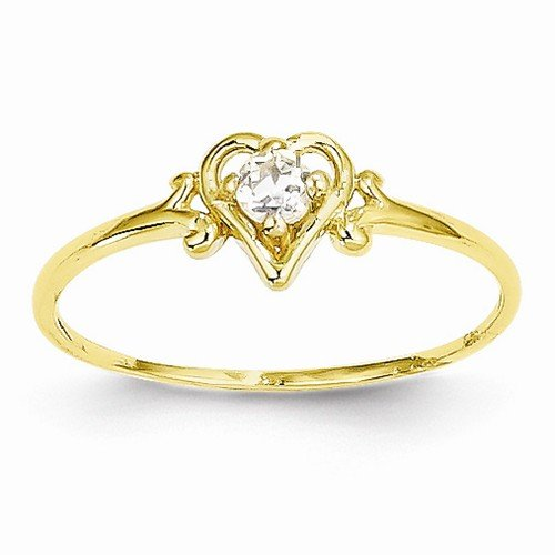 Size - 8 - Solid 14k Yellow Gold Genuine April Simulated Birthstone Love Heart Ring (1 to (14k April Birthstone Ring)