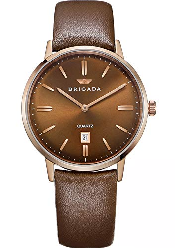 - BRIGADA Swiss Brand Brown Watches for Mature Men Nice Brown Business Casual Waterproof Men's Watch