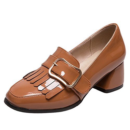 Show Shine Womens Fashion Chunky Heel Slide Loafers Shoes Yellow Folbd8Fz