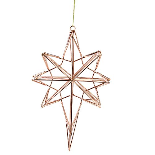 "Northlight 6.75"" Rose Gold Geometric Wire 8-Point Star Christmas Ornament"