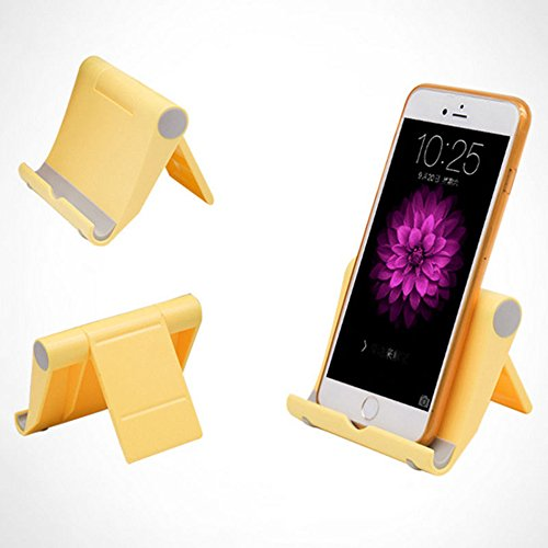 Foldable Desktop Holder Table Stand Cradle Mount For Cell Phone Tablet (Yellow)