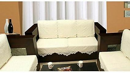 Nirmal Net 5 Seater Sofa Cover Set - 27 x 25, Beige - 10 Pieces - Cream Color