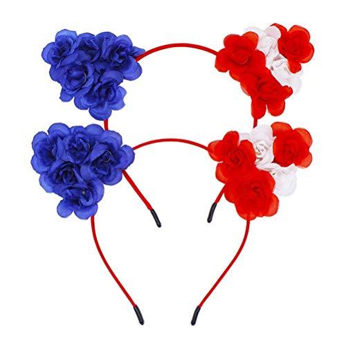 BinaryABC Patriotic Cat Ears Headband,American Flag Headband,4th of July Hair Accessory,Independence Day National Day Decorations,2Pcs