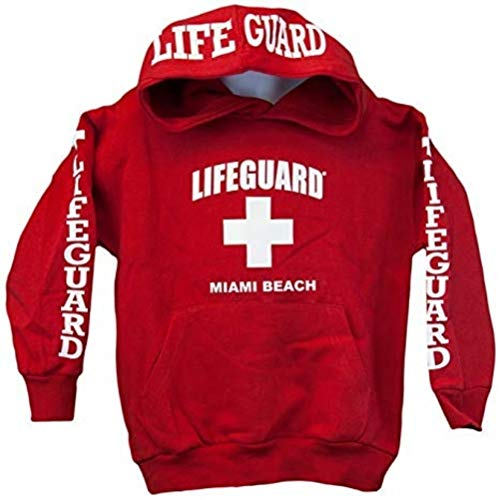Lifeguard Kids Miami Beach Florida Life Guard Sweatshirt Red Hoodie (Youth X-.