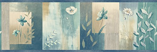 Chesapeake MEA24625B Bonnard Turquoise Color Block Floral Wallpaper Border