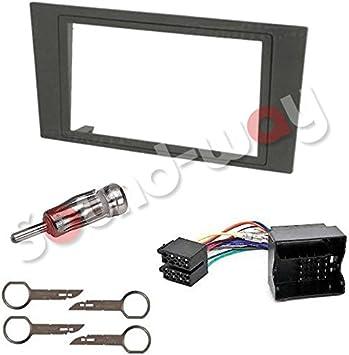 Sound-way Kit Montaje Autoradio, Marco 1 DIN Radio de Coche, Adaptador Antena, Cable Adaptador Conector ISO, Llaves Desmontaje compatible con Ford ...
