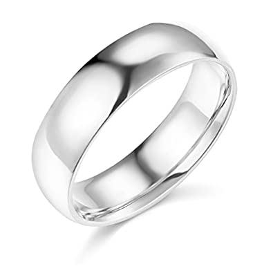 14k white gold 6mm solid plain wedding band size 5