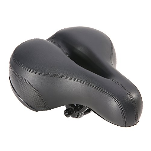 UNISTRENGH Comfortable Men Women Bike Seat Memory Foam Padded Leather Wide Bicycle Saddle Waterproof Dual Spring Designed Soft Breathable Cushion Fit Most Bikes (Black)