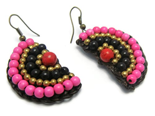 [CHADADA Handmade Jewelry Tribal Multi-Colored Beads Brass Drop Dangle Earrings (Pink, Black, Red),] (Target Cowboy Dog Costume)