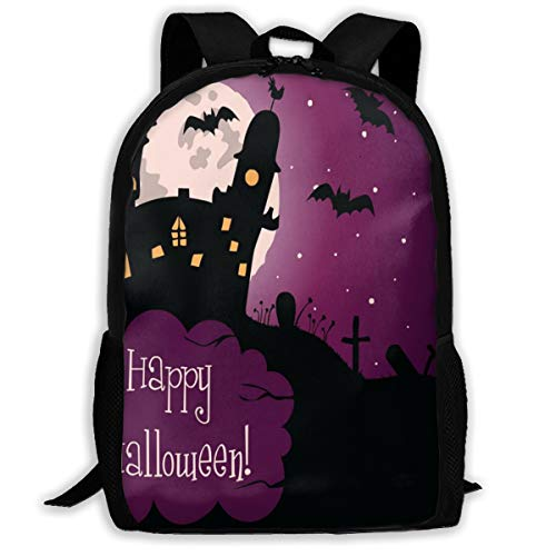 (Yunshm Halloween Greeting Card Vector Image Casual Backpack Ultra Light Adjustable Strap Unisex For Outdoor)