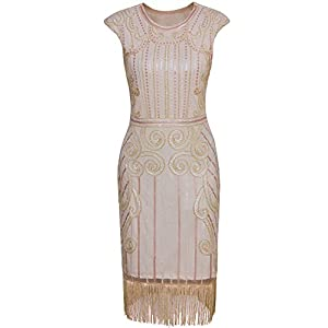 8b4e803eb86 Vijiv Womens 1920s Elegant Dresses with Sleeves Beaded Great Gatsby Flapper  Dress for Party Beige Pink