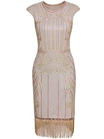 Vijiv 1920s Vintage Inspired Sequin Embellished Fringe