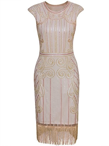 Vijiv Womens 1920s Elegant Dresses with Sleeves Beaded Great Gatsby Flapper Dress for Party Beige -