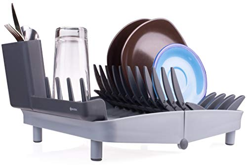 Folding Dish Rack, Collapsible Drying Rack Organizer for Medium and Small Plates, Glasses and Utensils, Easy to Clean, Perfect for Space Saving by Shanik