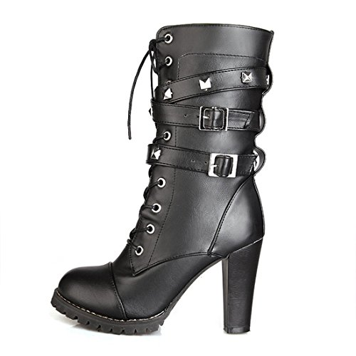 Boots Heels Buckle Black Rivet Punk High Mid Military Calf Women Strap Motorcycle Mostrin Combat HqwtF7pp
