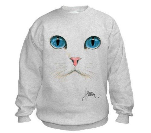 Cat Face Uni-Sex Sweatshirt (Adult Large, Ash Grey) ()