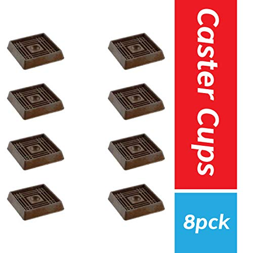 "Furniture Caster Cups for Carpet and Finished Surfaces, 2"" Square Rubber Anti-Slip Wheel Grippers Floor Protectors, 8 Pack, Brown"