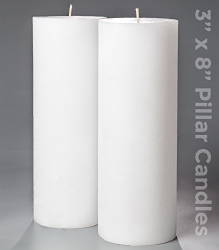 3 x 8 White Pillar Candles Set of 2 Unscented for Weddings Home Decoration Church Restaurant Spa Smokeless Cotton Wick