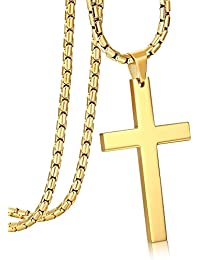 3MM Stainless Steel Chain Cross Pendant Necklace for Men 22 24 30 Inches