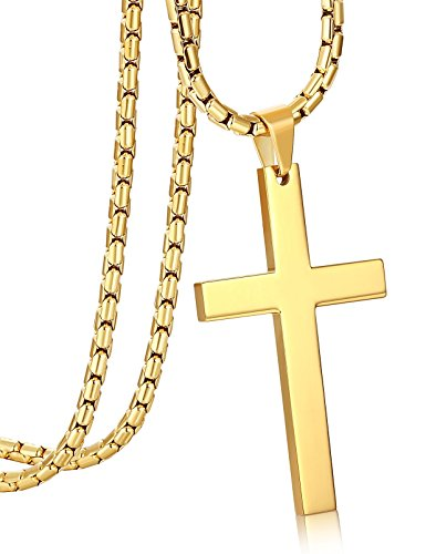 ORAZIO 3MM Stainless Steel Chain Cross Pendant Necklace for Men Gold Tone 30 Inches