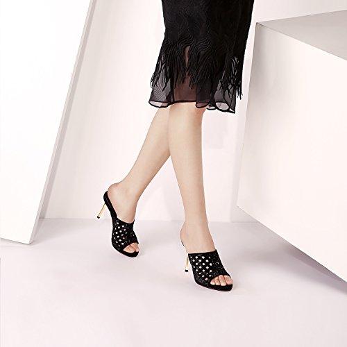Moda Pesce Tallone Tacchi Di Piattaforma L'Esercitazione KPHY Di 9Cm Alti Forte Summer Nuovo Femmina Alla Pantofole black Bocca Impermeabile Asciugamani Svuotata Fico F0qwUIxw6