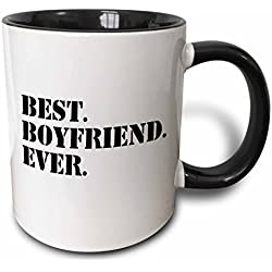 3dRose Best Boyfriend Ever Fun Romantic Love and Dating Gifts for Him for Anniversary Or Valentines Day Two Tone Black Mug, 11 oz, Black/White