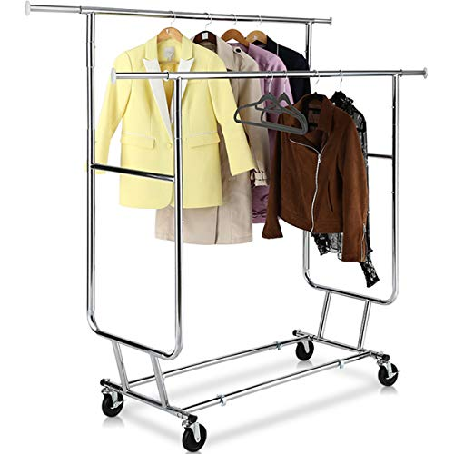 TomCare Garment Rack Double Clothes Racks Ajustable Clothing Rack Extensible Clothes Hanging Rack Commercial Grade Garment Rolling Racks for Hanging Heavy Duty Stainless Steel Garment Rack on ()