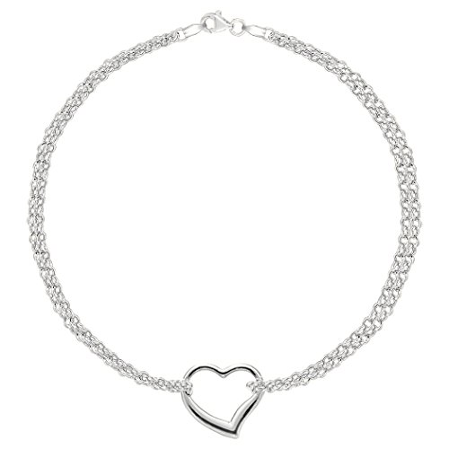 14K White Gold Double Strand With Heart Anklet, 10'' by JewelryAffairs