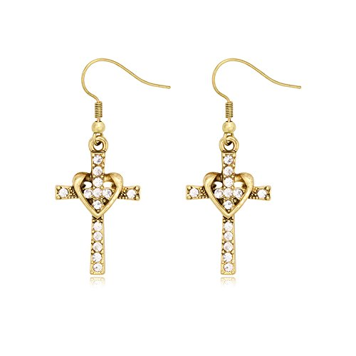 SENFAI Fashion Heart with Crystal CrossPersonality Drop Earrings for Charm Women Girls (Antique Gold) ()