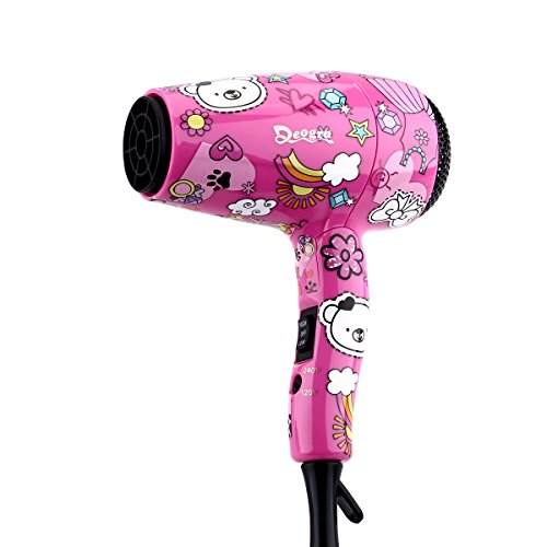 Deogra 1000W Foldable Kids Hair Dryer with ALCI Plug Compact Handle Blow Dryer with Concentrator and Diffuser Nozzle Dual Voltage for Home Use/Travel