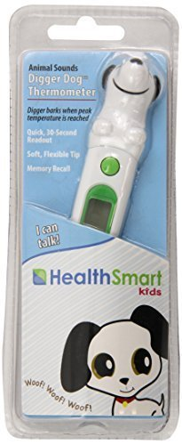HealthSmart Kids Digger Dog Animal Shaped 30-Second Digital Thermometer, Green by HealthSmart