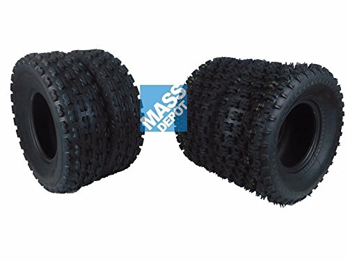 New MASSFX ATV Sport Quad Tires Two Front 22x7-10 and Two Rear 20X10-9 4 Ply Tires For Yamaha Raptor Banshee Honda 400ex 450r 660 700 400 450 350 250 (4 Pack(2 Front 22x7-10) (2 Rear 20x10-9))