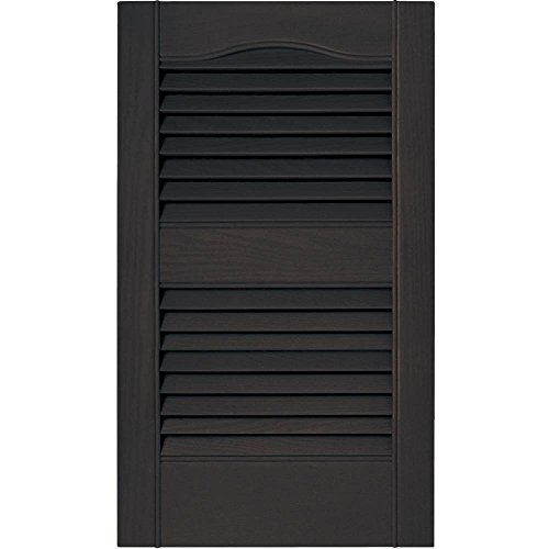 Mid America 15 in. Vinyl Louvered Shutters in Musket Brown - Set of 2 (14.5 in. W x 1 in. D x 71.8125 in. H (8.39 lbs.)) -