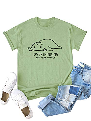 Festnight Women Cat Letters Print Tee Solid Color O-Neck Tops Short Sleeve Graphic Print T-Shirt Army Green