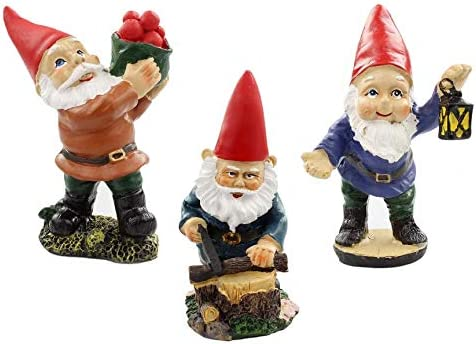 NW Wholesaler Fairy Garden Gnome Kit – Set of 3 Miniature Gnome Figurines for Fairy Gardens and Mini Displays Apples-Sawing-Lantern