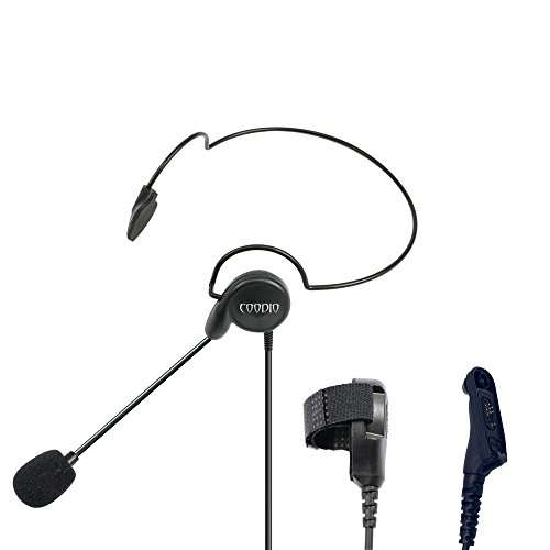 Coodio Tactital Behind-the-Head Earpiece Headset Mic [Boom Microphone] [Noise Cancelling] For Motorola MOTOTRBO 2 Way Radio