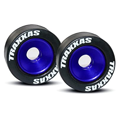 Traxxas 5186A Rubber Tires Mounted on Blue-Anodized Aluminum Wheelie Bar Wheels (pair): Toys & Games