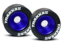 Wheels, aluminum (blue-anodized) (2)/ 5x8mm ball bearings (4)/ axles (2)/ rubber tires (2) Machined Aluminum Ball Bearing Wheels with Rubber Tires: Traxxas now offers an impressive set of red and blue-anodized machined aluminum wheelie bar wh...