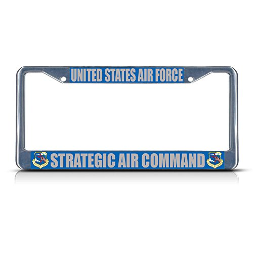United States AIR Force Strategic AIR Command Metal License Plate Frame Perfect for Men Women Car garadge Decor