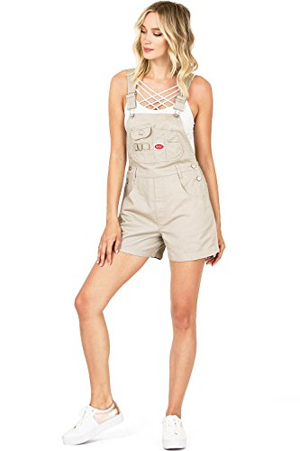 Revolt Women's Juniors Classic Twill Short Overalls (L, Smooth Khaki) ()