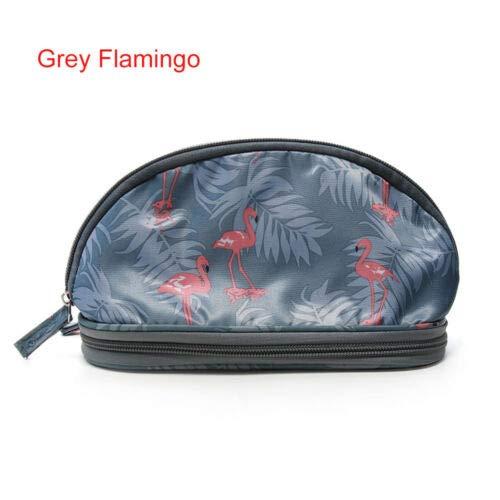 Organizer Double Layer Travel Pouch Flamingo Cosmetic Bag Women Makeup Bags (size - Grey Flamingo)]()
