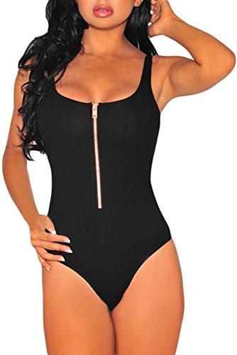 HOTAPEI Strappy Ribbed Zipper Bodysuit