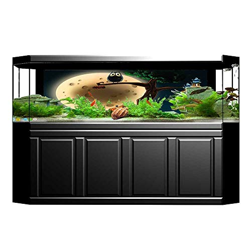 UHOO2018 Fish Tank Background Collection Cute Cartoon of Spooky Halloween Tree with Large Eyed Owl and Pumpkin PVC Adhesive Decor Paper Sticker 29.5