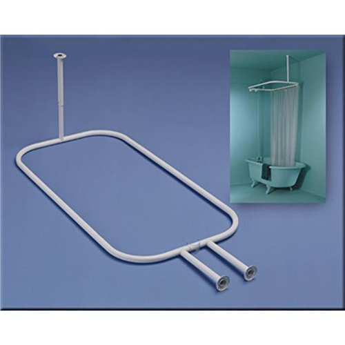 Zenna Home 34941, Hoop Shower Curtain Rod for Claw Foot Tubs, White